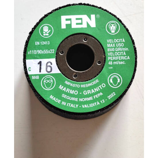 110/90x55x22 1C 16 Bak. MTC FEN Furatos kúpos fazék alakú bakelit köszörűkorong FEN 34030027